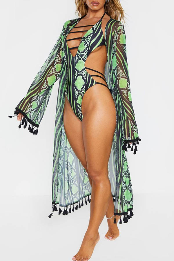 Lovely Bohemian Hollow-out Green Plus Size One-piece Swimsuit