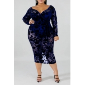 Lovely Sexy V Neck Hollow-out Vivid Blue Mid Calf Plus Size Dress
