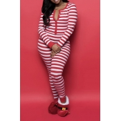 Lovely Christmas Day Striped Red One-piece Jumpsui