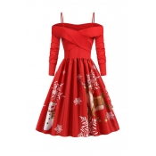 Lovely Christmas Day Ruffle Design Printed Red Mid