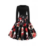 Lovely Christmas Day Printed Black Mid Calf Dress