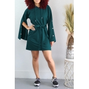 Lovely Leisure Hooded Collar Buttons Design Green