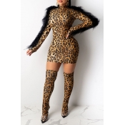 Lovely Party Tassel Design Leopard Yellow Mini Dress