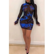 Lovely Sexy See-through Letter Printed Blue Mini D