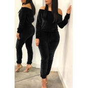 Lovely Leisure Basic Black Two-piece Pants Set