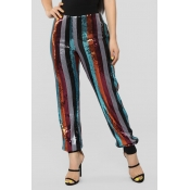 Lovely Casual Sequined Striped Multicolor Pants