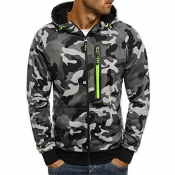 Lovely Casual Camouflage Printed Grey Hoodie
