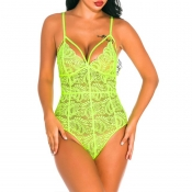 Lovely Sexy Hollow-out Light Green Teddies