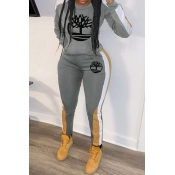 Lovely Casual Hooded Collar Printed Grey Two-piece