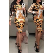 Lovely Casual Printed Skinny Gold Knee Length Dres