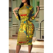 Lovely Casual Printed Skinny Yellow Knee Length Dress