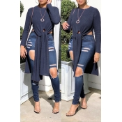 Lovely Casual Knot Design Deep Blue Sweater