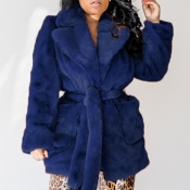Lovely Casual Lace-up Dark Blue Coat