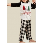 Lovely Family Printed White Girl Two-piece Pants S
