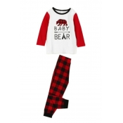 Lovely Family Plaid Printed Red Kids Two-piece Pan