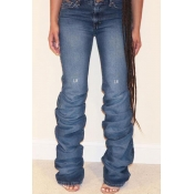 Lovely Trendy Ruffle Design Deep Blue Jeans