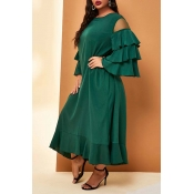 Lovely Casual Flounce Patchwork Green Ankle Length