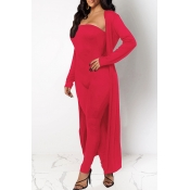 Lovely Casual Basic Skinny Red Two-piece Pants Set