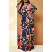Lovely Casual V Neck Printed Rose Red Floor Length