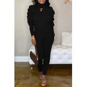 Lovely Sweet Ruffle Design Black Two-piece Pants Set