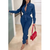 Lovely Trendy Lace-up Blue One-piece Jumpsuit