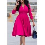 Lovely Leisure V Neck Rose Red Knee Length Dress