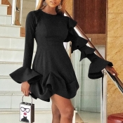Lovely Sweet Flounce Design Black Mini Dress