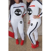 Lovely Trendy Printed White Two-piece Pants Set