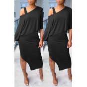 Lovely Trendy Hollow-out Black Two-piece Skirt Set
