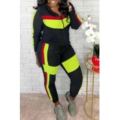 Lovely Trendy Color-lump Patchwork Green Two-piece