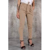 Lovely Casual Drawstring Khaki Pants(With Belt)
