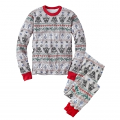 Lovely Family Printed Grey Father Two-piece Pants
