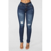 Lovely Casual Broken Holes Skinny Deep Blue Jeans