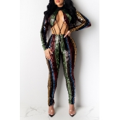 Lovely Sexy Striped Hollow-out Multicolor One-piece Jumpsuit