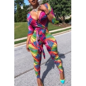 Lovely Leisure V Neck Printed Multicolor One-piece