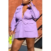 Lovely Casual Turndown Collar Purple Plus Size Min