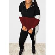 Lovely Casual Color-lump Patchwork Black Two-piece Pants Set