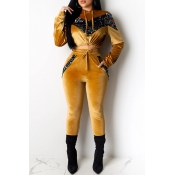 Lovely Casual Hooded Collar Patchwork Yellow Two-piece Pants Set