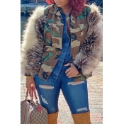 Lovely Winter Patchwork Camouflage Printed Coat