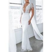 Lovely Party See-through Backless White Trailing P