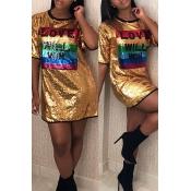 Lovely Casual Letter Gold Mini Dress