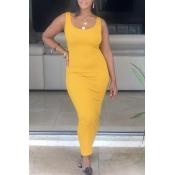 Lovely Casual Sleeveless Skinny Yellow Ankle Length Dress