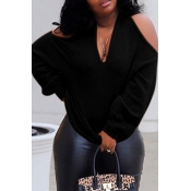 Lovely Casual Cross-over Design Black Sweater