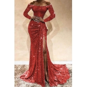 Lovely Party Side High Slit Red Trailing Evening D