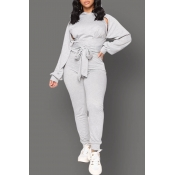 Lovely Casual Bandage Design Grey Two-piece Pants Set