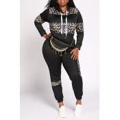 Lovely Casual Leopard Printed Black Plus Size Two-