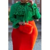 Lovely Casual Flounce Design Green Plus Size Blous