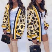 Lovely Casual Printed Yellow Cardigan