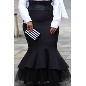Lovely Casual Flounce Black Plus Size Skirt(Withou