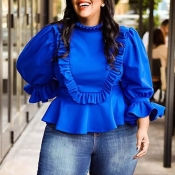 Lovely Trendy Flounce Patchwork Blue Plus Size Blo